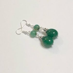Emerald Jadeite Nugget & Agate Earrings